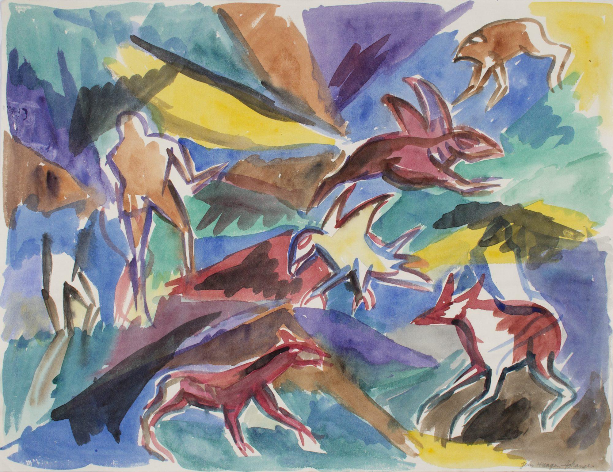 Akvarel på bøttepapir, Mål: 50 x 60